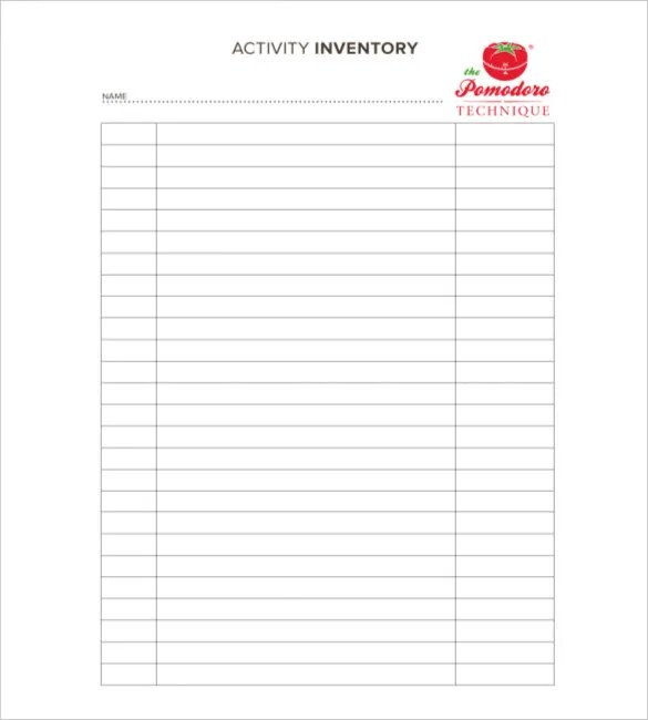 food inventory sheets printable