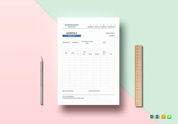 21  Monthly Timesheet Templates   Free Sample  Example Format     Monthly Timesheet Word Template