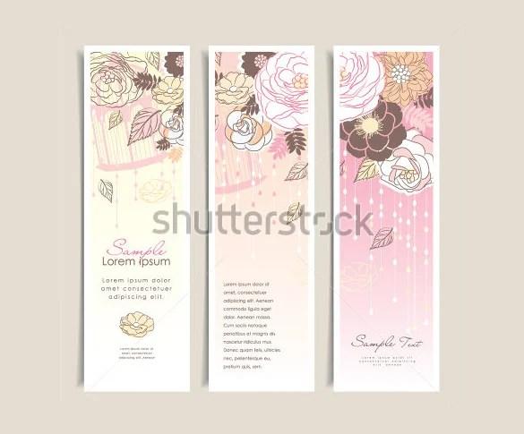 Fl Background Wedding Bookmark Template