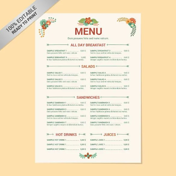 catering menu template word
