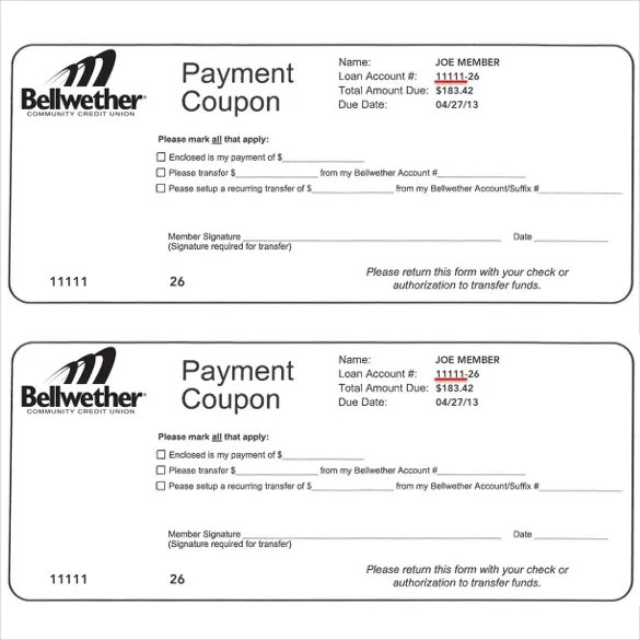Payment Coupon Template - FREE DOWNLOAD