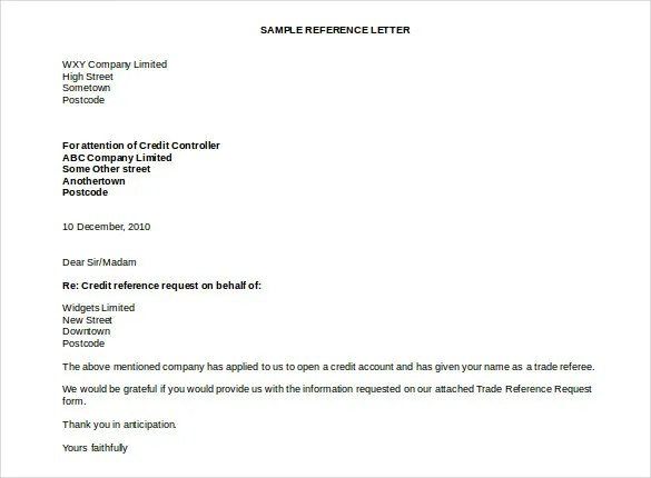 Trade Reference Template Trade Reference Template 80 Trade – Templates for Reference Letters