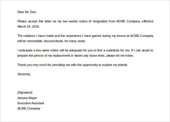 2 Week Notice Letter Template Barka