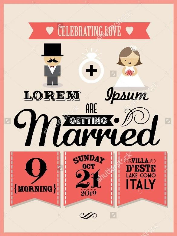 Vector Ilrator Formal Wedding Invitation Card Template