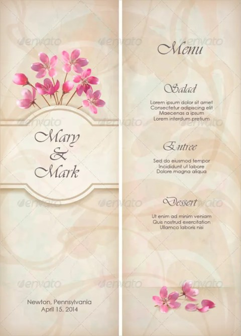 Floral Wedding Menu Template Sample