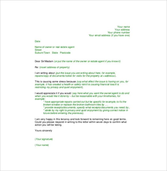 sample of complaint letter to apartment management