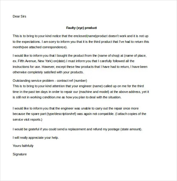 Format Of A Complaint Letter Samples - Cover Letter Templates