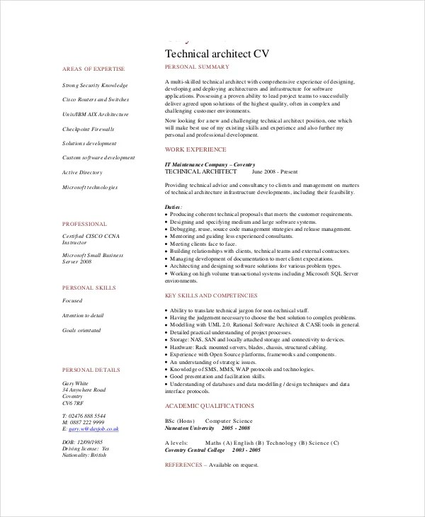 architect cv sample pdf - Vatoz.atozdevelopment.co
