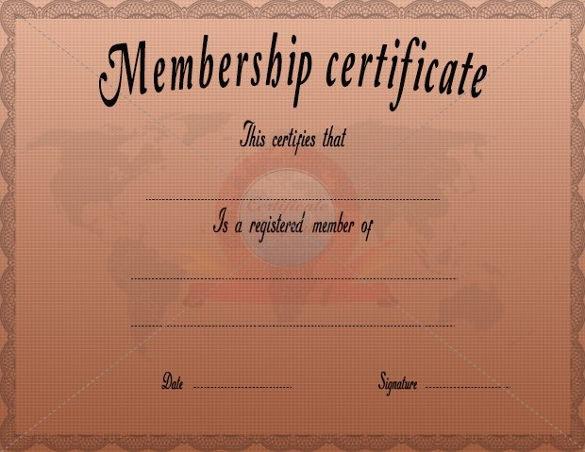 Membership Certificate Template Free Free Download