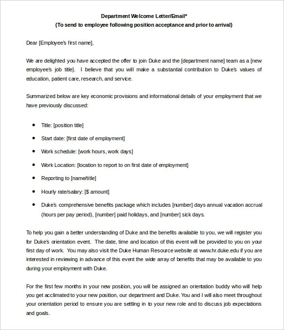 Welcome Letter Template Word