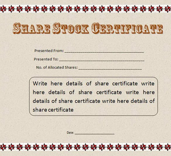 Sample Stock Certificate  Free Download