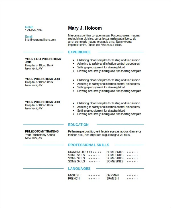 phlebotomy resume templates phlebotomy resumes resume sample 23969 | Modern Blue Phlebotomy Resume Template
