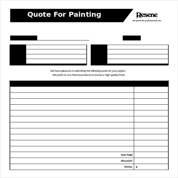 Painting Quote Template