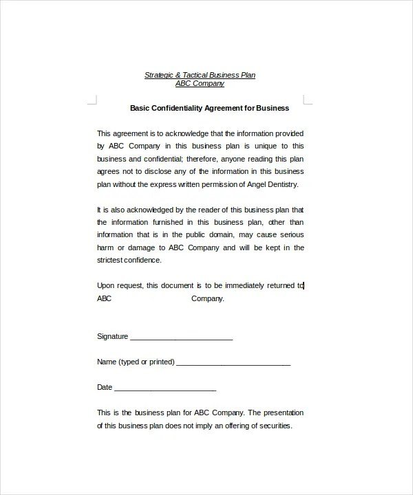 Basic Confidentiality Agreement 18 Free Word PDF Documents Download Free Premium Templates