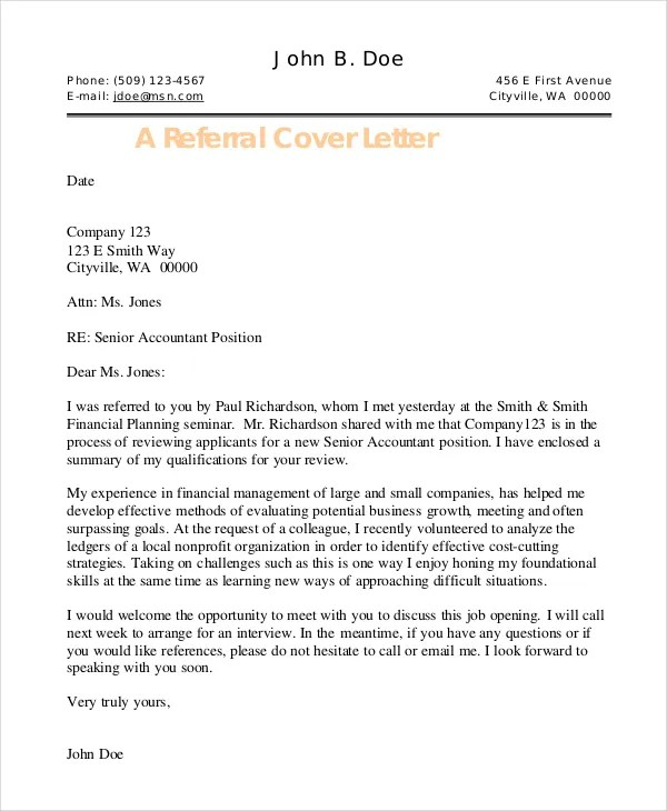 How To Write A Cover Letter Referred By Someone