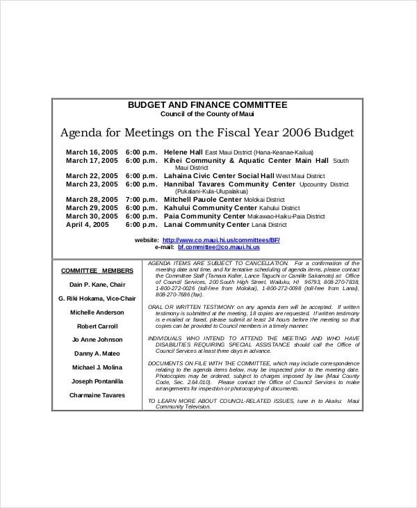 Committee Meeting Agenda Template – 12+ Free Word, PDF ...