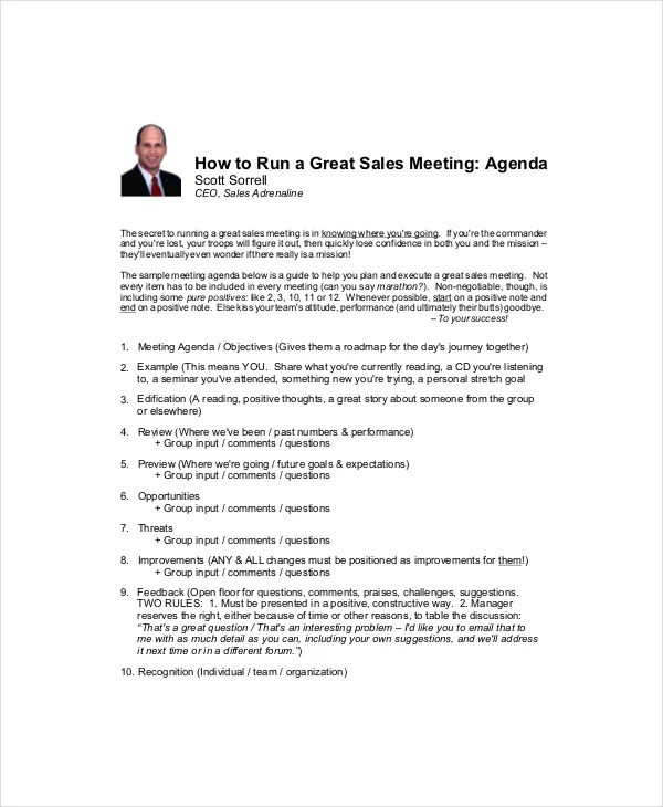 Sales Meeting Agenda Template – 11+ Free Word, PDF ...
