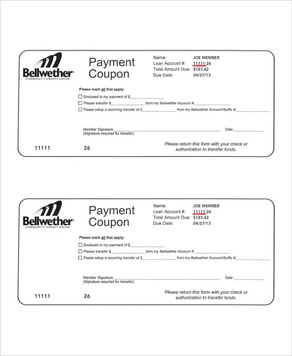 Payment Coupon Book Template - FREE DOWNLOAD