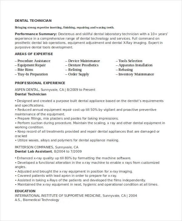 resume for lab technician