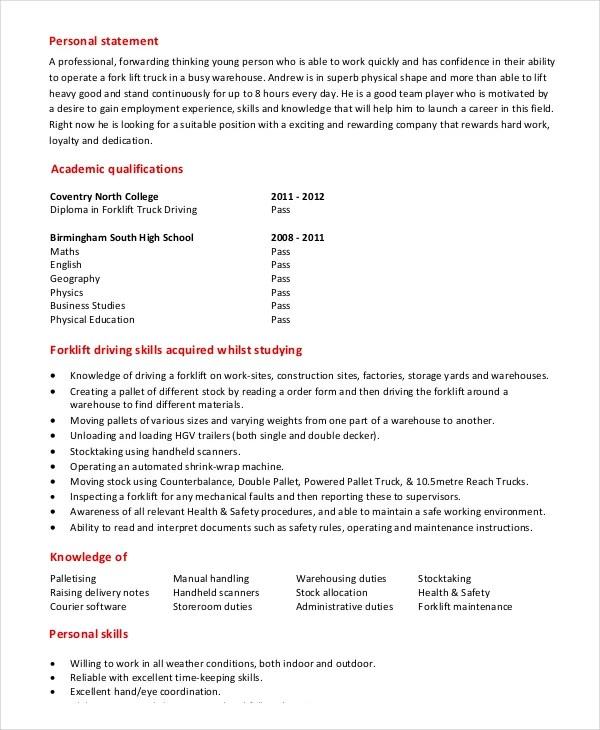 forklift resume