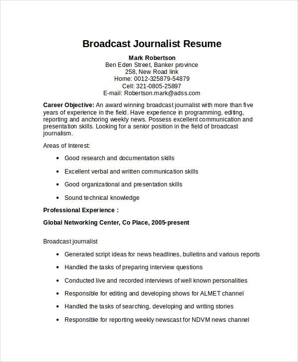 Journalism Resume Template  Resume