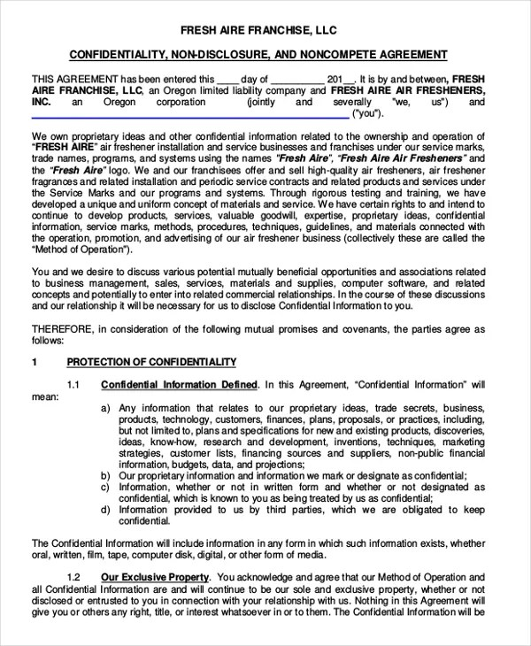 The confidential information is defined in the agreement which includes, but not limited to, proprietary information, trade secrets, and any other details which may include personal information or events. 16 Non Disclosure Non Compete Agreement Templates Free Sample Example Format Free Premium Templates