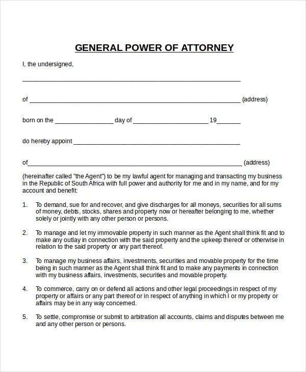 19 Power Of Attorney Templates Free