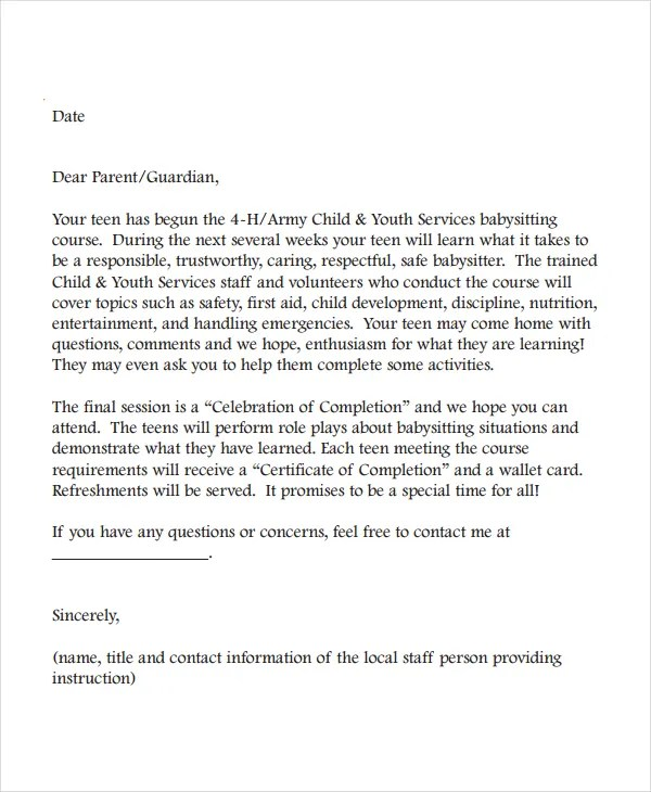 Letter Of Recommendation For Babysitter  Docoments Ojazlink