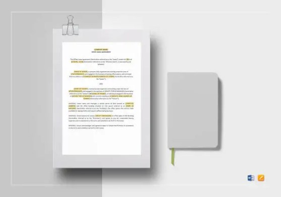 Standard Lease Agreement   12  Free PDF  Word Documents Download     office lease agreement
