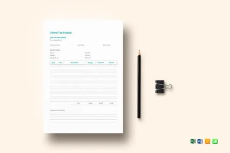 School Budget Template   11  Free Word  Excel  PDF Documents     School Fee Receipt Template MS Excel