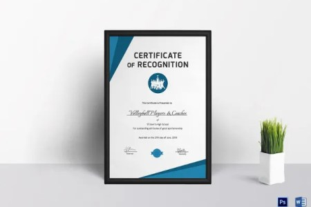 20  Certificate of Recognition Templates   PDF  Word   Free     Volleyball Certificate of Recognition Template