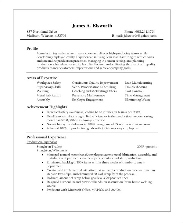 supervisor resume template 8 free word pdf doent s - Manufacturing Supervisor Resume