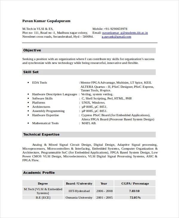 Electronic Resume Format - Resume Sample