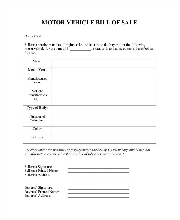 Blank Bill Of Sale Template 7 Free Word PDF Document Downloads Free Amp Premium Templates
