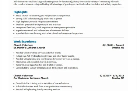 Church Volunteer Work On Resume. how to put church volunteer work on ...