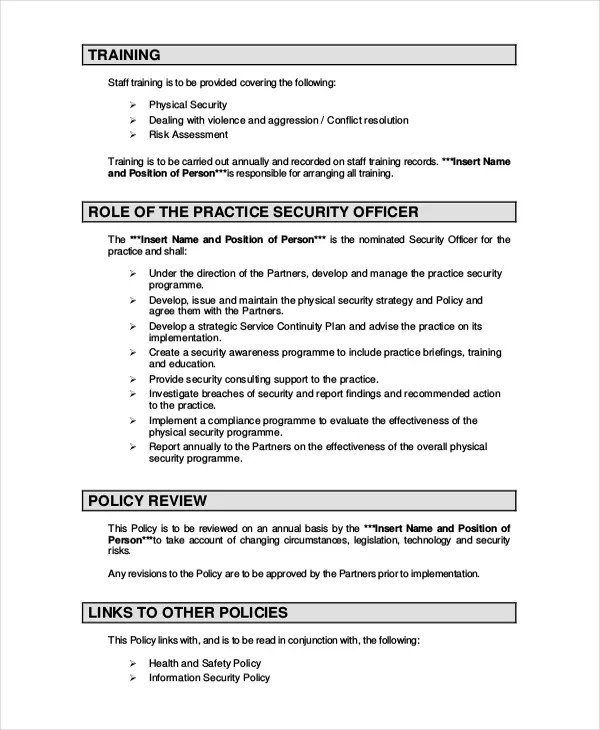 Company Security Policy Template