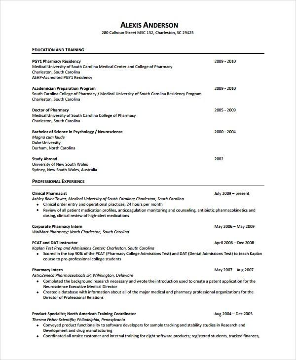 resume for pharmacist gse bookbinder co - Cv Resume Sample Pharmacist