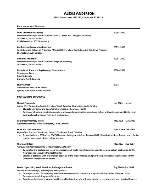 pharmacist resume templates free