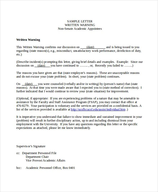 Written Warning Letter For Misconduct  Docoments Ojazlink