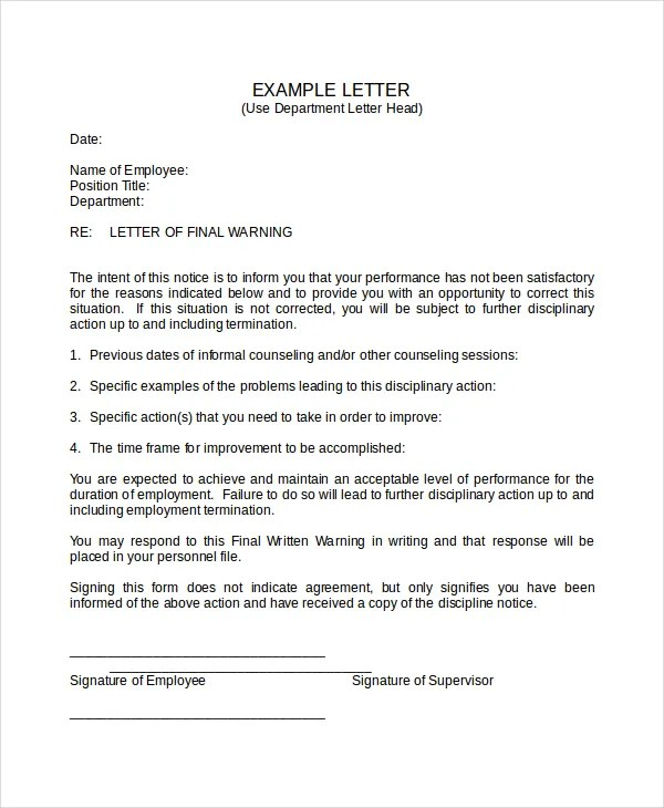 Sample Warning Letter To Employee For Absence  Docoments Ojazlink