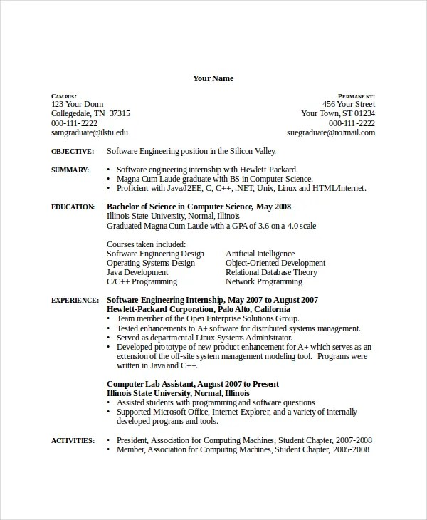 Beau Computer Science Resume Template 7 Free Word Pdf Doent