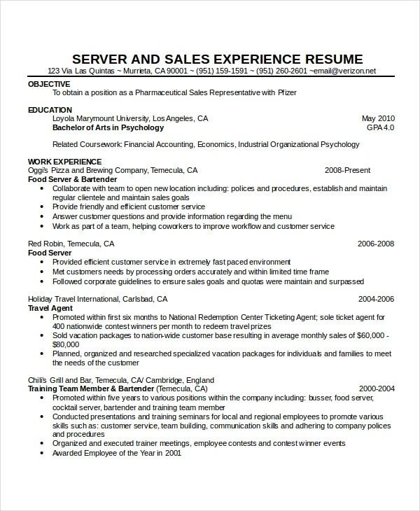 Waiter Resume Sample - Resume Sample