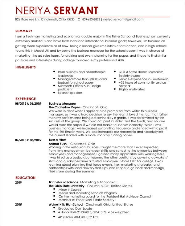 waitress resume template 6 free word pdf doent s - Resume Templates For Servers