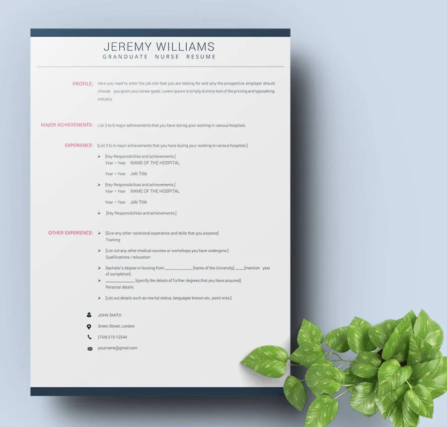 42  Free Resume Templates   Fresher  Nurse  Teacher  Sales   Free     Graduate Nurse Resume Template