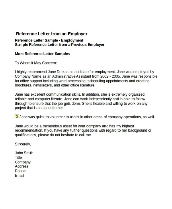Employment Reference Letter Template Word Letter – Employment Reference Template
