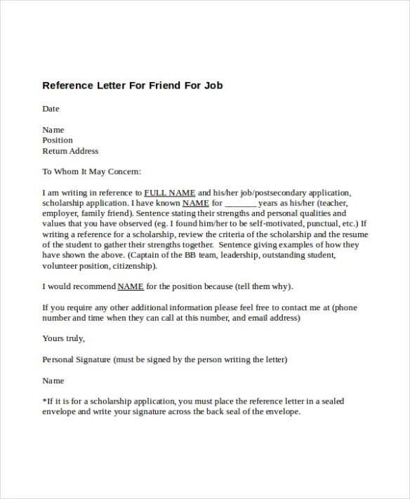 A reference letter for friend