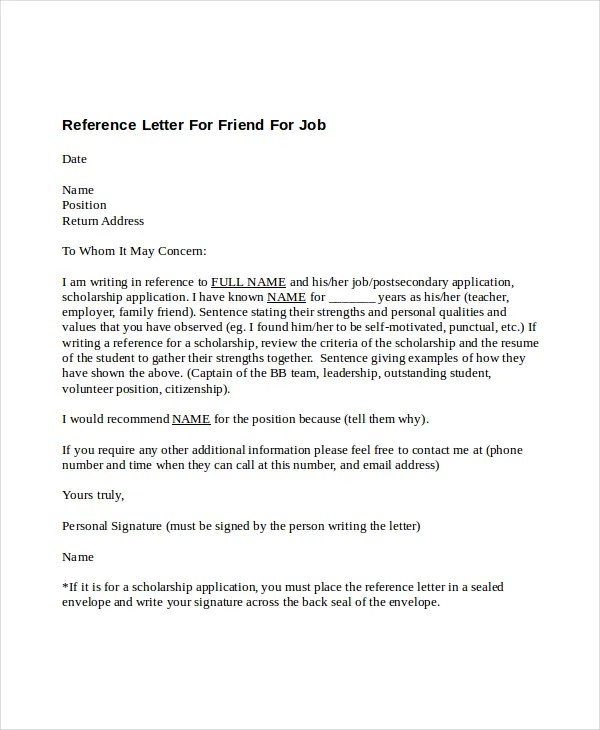 16 Recommendation Letters For A Friend Free Sample Example