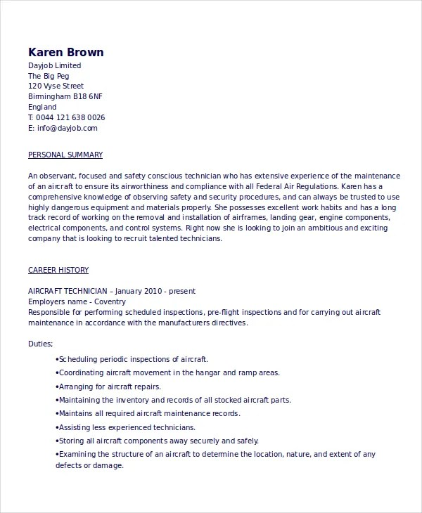 aviation mechanic resume