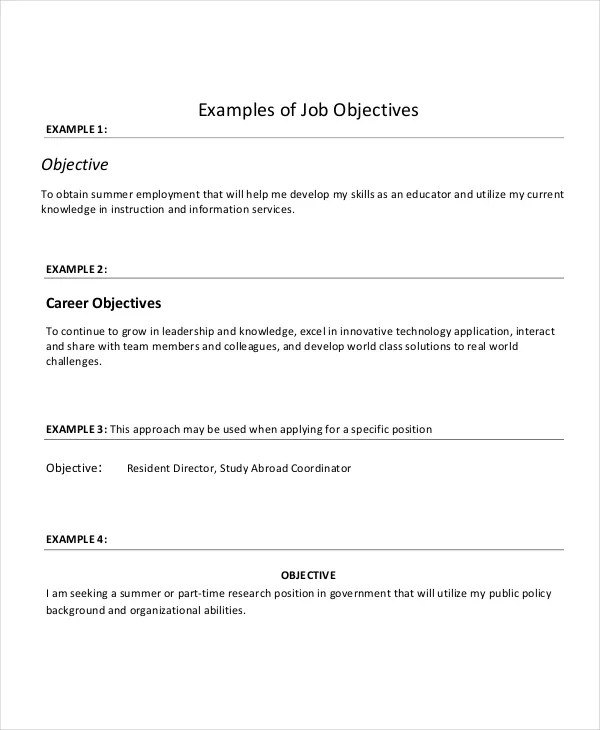objective for resume for government position