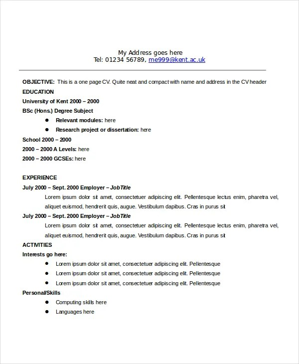 18 sample resume objectives free example format standard - Standard Format Resume